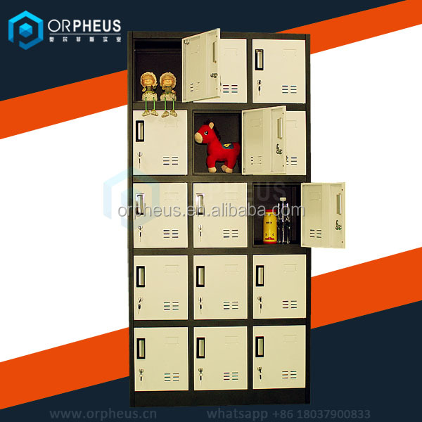 Customizable Light Yellow Colored Parcel Cabinets Gym Bench Center Use 15 Door Sports Clothes Locker