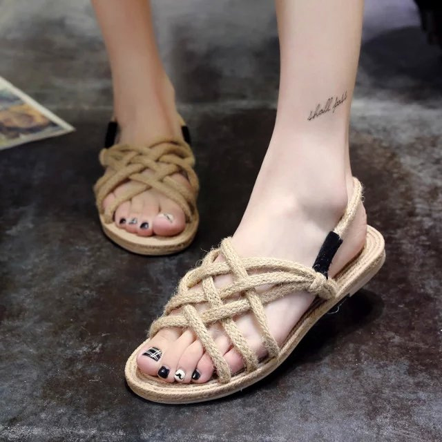 HFCS281 Top quality new model woman beach woven soles for flat sandals