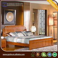 China popular furniture bedroom sets by solid ash wood bed