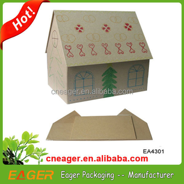 Cardboard house shape gift box for drawing