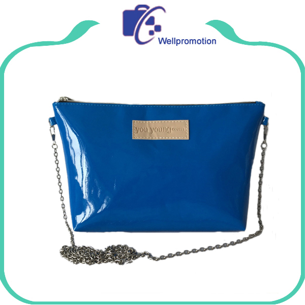 Handled blue pu leather ladies small crossbody bag with metal chain