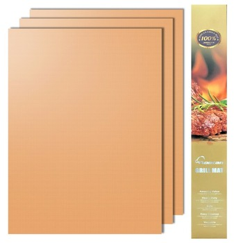 Gold Grill Mat Set of 3- 100% Non-stick BBQ Grill & Baking Mats - FDA-Approved, PFOA Free, Reusable and Easy to Clean