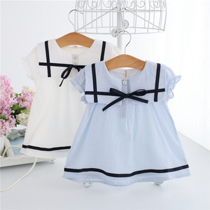 QX3713 Summer new children's dresss girls short sleeves cotton dress