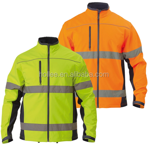 high visibility reflective safety softshell jacket for workers