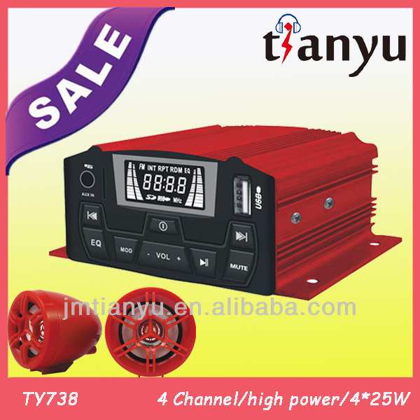 TYT737 made in china unique high quality 4-channel motorcycle disc lock alarm 4X15/25W long distance