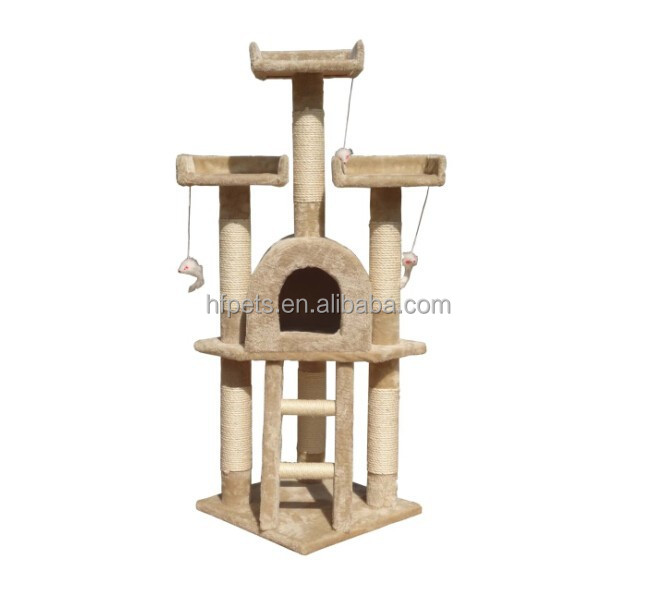 High Quality Fashion Deluxe Luxurious Wooden Sisal Cat Tree