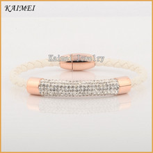 Wholesale Quality 316L Stainless Steel Crystal White PU Leather Bracelet