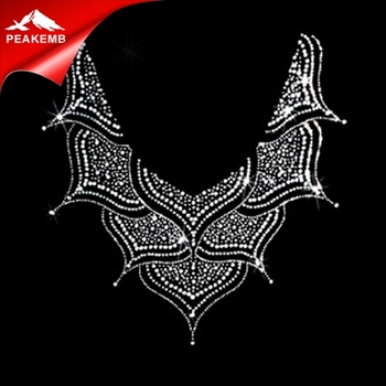 Blign neckline motif iron on rhinestone transfer for jewellery