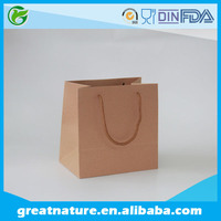Plain brown kraft paper shopping bags with rope handle