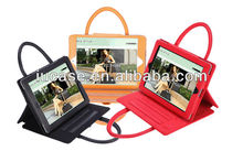 Stylish Ladies Tablet PC Case for iPad 2/3/4/air/mini with standing function/three reading angles front zipper pocket