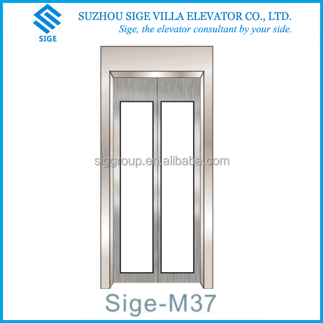 suzhou sige elevator sliding glass door, hairline stainless steel + safety glass printing