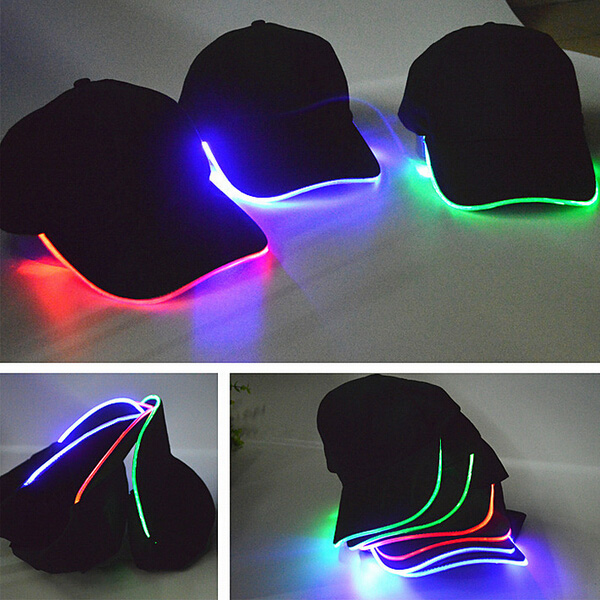 Printed or Embroidered LED flashing baseball EL cap, LED trucker cap