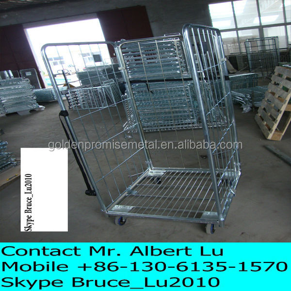 Wholesale Cheap Roll Container Roll Cage Roll Pallet Folding Trolleys Metal Trolley Steel Warehouse Cart