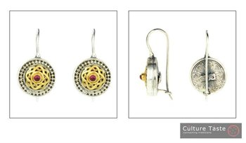 Byzantine-Medieval Earrings ~ Sterling Silver, Gold Plated Silver &