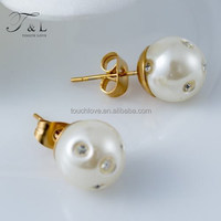 2015 high quality brand designs 10mm white simulated pearl inlay rhinestones stud earrings female wedding jewelry