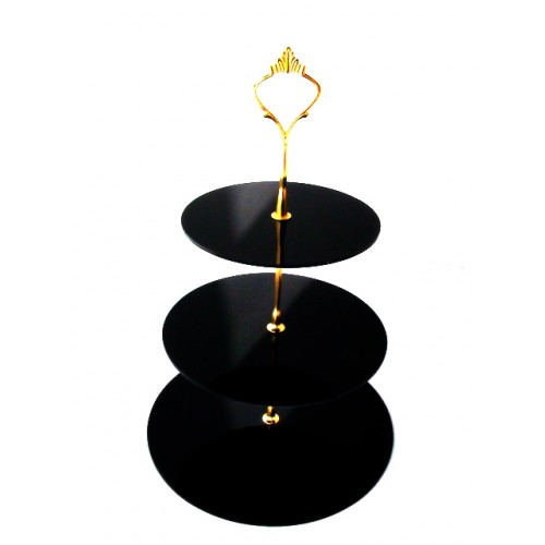 Black Desktop 3 Tiers Folding Acrylic Wedding Cake Stand