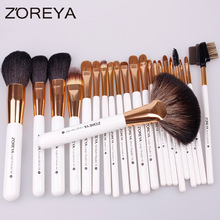 Stock Wholesale 22pcs Private Label Zoreya Natural Goat Hair PU Leather Bag Professional Cosmetic Makeup Brush Set