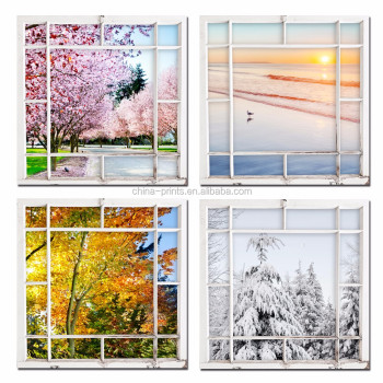 4 Pieces Seasons Modern Landscape Framed Canvas Print Scenery Outside Window Wall Art