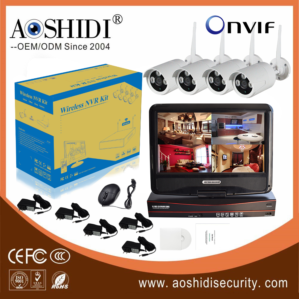 Most popular 4CH HD Wireless Camera Home Security System with 10 inch Display Monitor