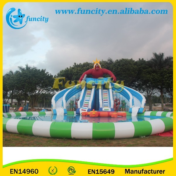 EN 15649 Commercial Inflatable Water Park on Land , Two Curve Slides