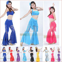 yellwo belly dance stage clothing for women