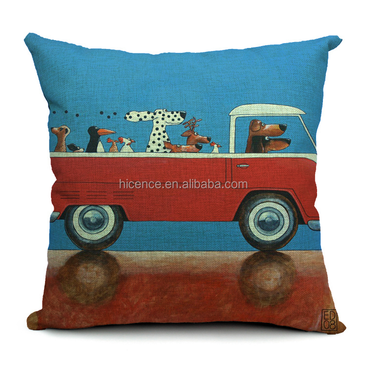 "New ""Dogs Driving"" Sofa Cushion Cover Replacement"