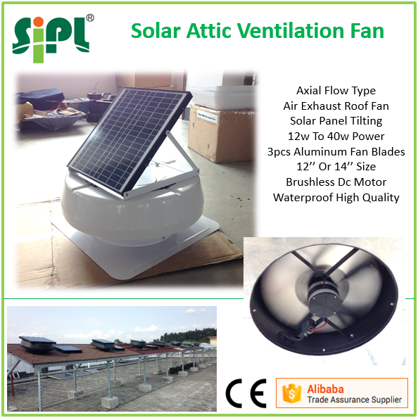 14'' Solar Outdoor Stand Fan 20W 18V DC Roof Ventilation Fan
