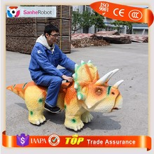 Mechanical interactive dinosaur coin operated kiddie rides animatronic zoo animal scooter