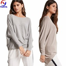 New fashion women autumn oversize casual round neck crescent hem long dolman sleeve knit top