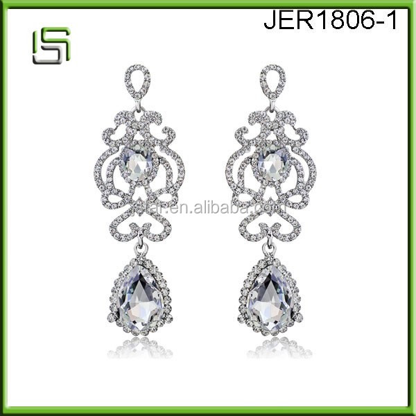 Water Drop Palace Long Crystal Earrings