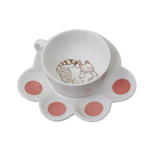 Pretty Sleep Cat Ceramic Tea Cup Set with Claw Saucer