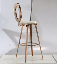 rose gold stainless steel white PU high bar chairs