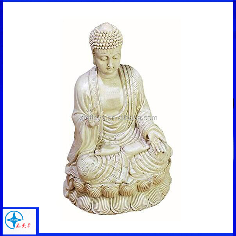 Beautifully Carved Antique White Polystone Buddha