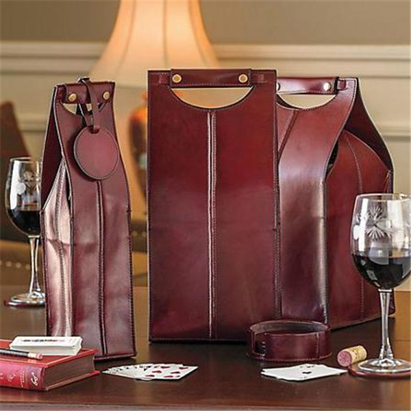 High quality two bottle portable leather wine carrier 2 bottles leather wine carrier