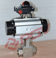 single acting cf8 high pressure ball valve dn32 with limit switch