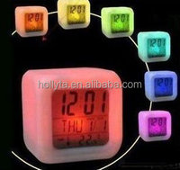 color changing four sides multi function digital night led light alarm clock