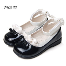 New Hot Summer Fashion Children Sandals Casual Leather Bowtie Kids Baby Girls Sandals Princess Flats Single Black School Shoes