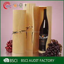 Oringinal wooden round tube wine gift box with cord lock