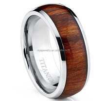 Titanium Ring Wedding Band, Engagement Ring with Real Wood Inlay, 8mm Comfort Fit