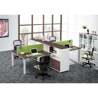 modern 4 person office computer workstation desk with cabinet