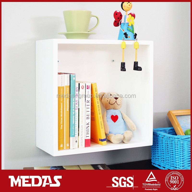 high gloss wall wooden cube decorative shelf
