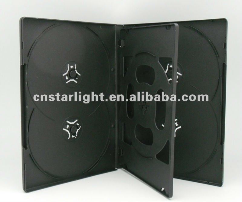 14mm Black DVD Case for 6 DVDs with tray