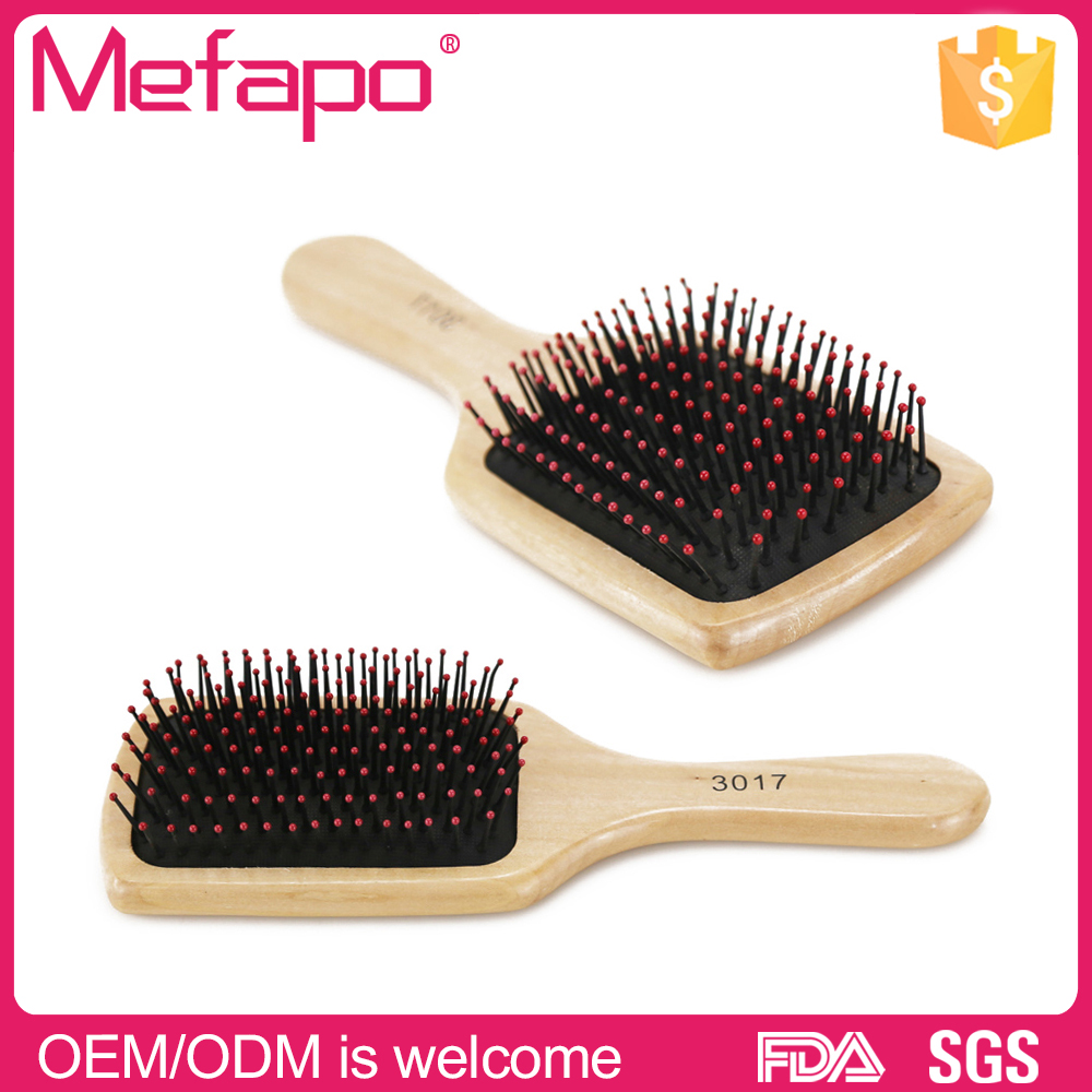 Easy carrying cushion massage paddle wooden hair brush