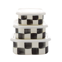 Factory directly enamel storage bowl with plastic lid 3 pcs lattice lunch box set