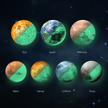 FL10138 The 7 Solar Planets 3D Luminous Glow in the Dark Stickers for Kids Room