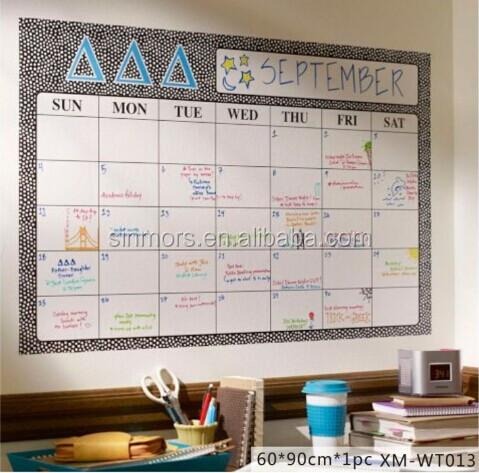 black square shape dry erase removable calendar whiteboard wall