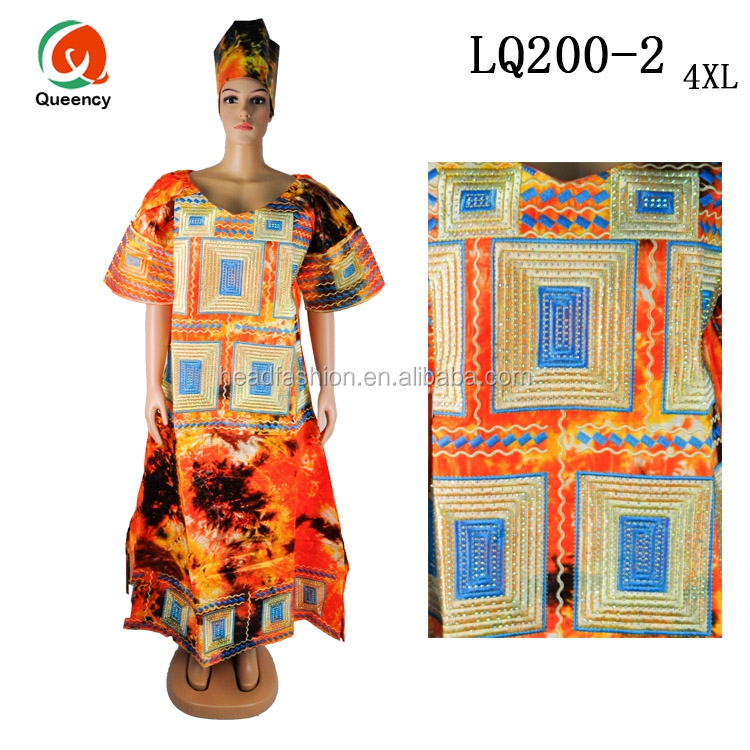 LQ200 Queency Short Sleeves African Formal Traditional Floral Embroidery Getzner Bazin Riche Maxi Dress