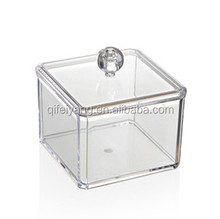 Clear Perspex Cotton Swab Cotton Bud cotton ball Box With Lid Divided