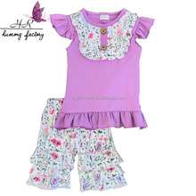 2017 latest design checp baby girls soft clothing set ruffle tops knit short suit baby Children Clothes