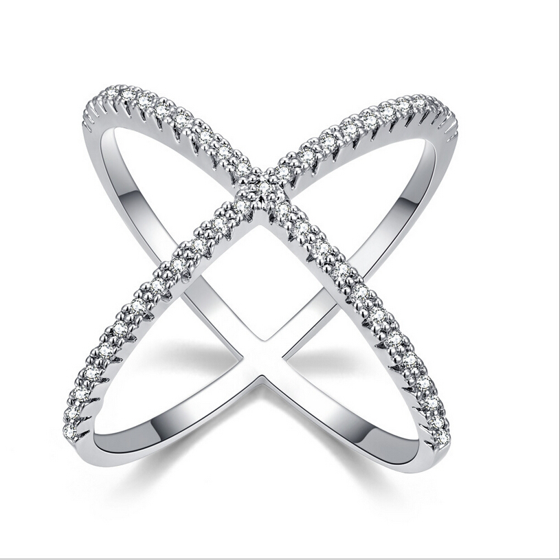 2016 The new X-shaped cross ring full CZ diamond ring